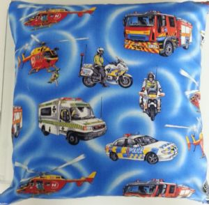 LARGE EMERGENCY VEHICLES THEMED CUSHION - Vehicles Cars Ambulance Fire Engine